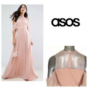 ASOS Cold Shoulder Kate Lace Maxi Dress in Natural
